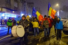 Brasov,Romania: All for justice protest December 2017. Brasov, Romania - December 17, 2017: Thousands of Romanians protesting against governing coalition and its Stock Photos