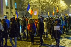 Brasov,Romania: All for justice protest December 2017. Brasov, Romania - December 17, 2017: Thousands of Romanians protesting against governing coalition and its Stock Image