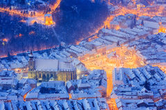 Brasov, Romania. Arial view of the Black Church and city square during winter Royalty Free Stock Photo