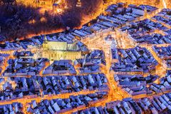 Brasov, Romania. Arial view of the old town during Christmas Stock Photography