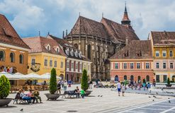 Brasov in Romania. Brasov, Romania - July 5, 2016: So called Black Church seen from main square of Brasov Old Town stock photo
