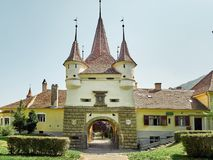 Catherine`s Gate is only original city gate to have survived from medieval times in Brasov, Romania. Brasov, Romania - 08/08/2018: Catherine`s Gate was built by stock image
