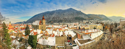 Brasov, Romania. Cityscape over Brasov town in winter and Christmas season, Romania Stock Image