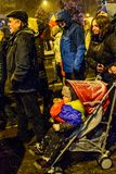 Brasov,Romania: All for justice protest December 2017. Brasov, Romania - December 17, 2017: Thousands of Romanians protesting against governing coalition and its Royalty Free Stock Photography