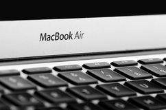 BRASOV, ROMANIA - JUNE, 2016: MacBook Air written on silver lapt. Op Stock Image