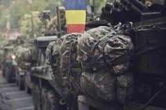 American military convoy pass through Brasov, Romania Stock Photo