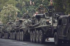 American military convoy pass through Brasov, Romania Royalty Free Stock Image