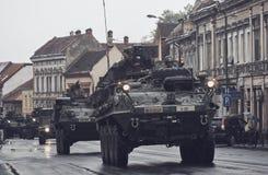 American military convoy pass through Brasov, Romania Stock Photos