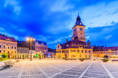 Brasov, Romania. Medieval Council House in the Main Square of the Old Town stock image