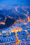 Brasov, Romania. Night winter scenery of medieval city Brasov, Transylvania in Romania with Council Square, Black Church and Citadel Stock Photo