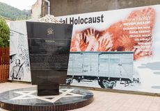 Memorial shelter to the victims of the Holocaust, installed in the courtyard of the Shalom synagogue in the Brasov city in Romania. Brasov, Romania, October 06 Stock Photo