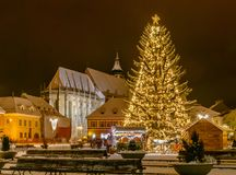 Brasov, Romania with an old Christmas tree royalty free stock images