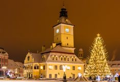 Brasov, Romania with an old Christmas tree Royalty Free Stock Photo