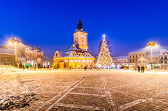 Brasov, Romania with an old Christmas tree Stock Photos