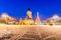 Brasov, Romania with an old Christmas tree Stock Photos
