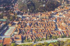 Brasov Romania. Panorama of the historical city of Brasov, Romania taken from above royalty free stock photo