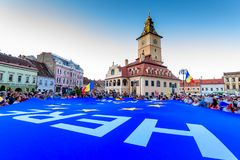 Brasov, Romania. Romanians from abroad protest against the government. Stock Photos