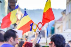 Brasov, Romania. Romanians from abroad protest against the gover Stock Photography