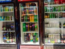 Beer, soda and water on the refrigerator in front of the restaurant. royalty free stock photo