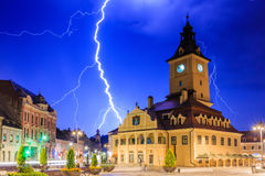 Brasov, Romania. Thunderstorm in the city center stock photography