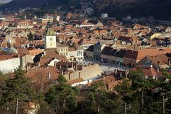Council Square. Landscape of Brasov, landmark attraction in Romania. Landscape of the historical center of Brasov, landmark attraction in Romania - Council Royalty Free Stock Photo