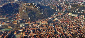 Landmark attraction in Brasov, Romania. Panorama of the city Brasov, old town. Catholic Black Church (Biserica Neagra) Royalty Free Stock Images