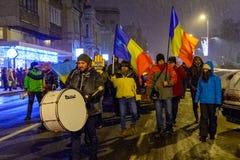 Brasov, Romania: Tutti per giustizia protesta dicembre 2017 Fotografie Stock