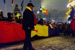 Brasov Rumänien: Alla för rättvisaprotesten December 2017 Arkivfoto