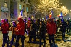 Brasov Rumänien: Alla för rättvisaprotesten December 2017 Arkivbild