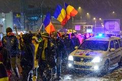 Brasov Rumänien: Alla för rättvisaprotesten December 2017 Royaltyfri Fotografi