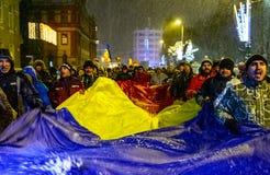 Brasov, Rumänien: Alle für den Gerechtigkeitsprotest im Dezember 2017 Stockfotografie