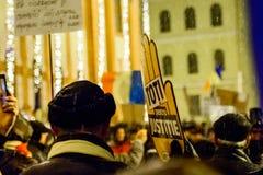 Brasov, Rumänien: Alle für den Gerechtigkeitsprotest im Dezember 2017 Lizenzfreies Stockbild