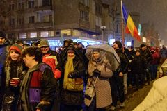 Brasov, Rumänien: Alle für den Gerechtigkeitsprotest im Dezember 2017 Lizenzfreie Stockfotos
