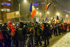 Brasov, Rumania: Todos para justicia protesta diciembre de 2017 Imagen de archivo libre de regalías