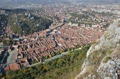 Brasov, Rumania, visión desde la montaña de Tampa Foto de archivo libre de regalías