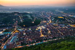 Brasov scenery, dusk time, Romania Royalty Free Stock Images