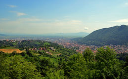 Travel to Romania: Brasov old city from Up Top Royalty Free Stock Image
