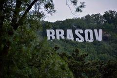 Brasov sign on Tampa. Brasov logo on Tampa Hill, Romania royalty free stock image