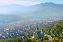 Brasov skyline, Romania. Modern districts of Brasov city in the morning sun light. Romania Royalty Free Stock Photography
