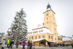 Brasov Town Hall on a Winter Christmas Day Stock Images