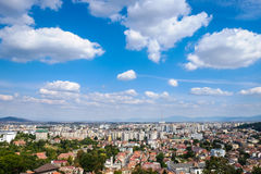 Brasov, Transilvania, Romania. Panoramic view with the new city Royalty Free Stock Photo
