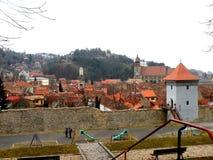 Brasov, Transilvania, Rumunia, ściany antyczny średniowieczny miasteczko Zdjęcie Stock