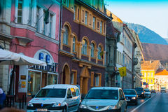 BRASOV, TRANSYLVANIA - AUGUST 22, 2010. Panoramic view of the old town center Stock Image