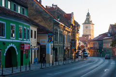 BRASOV, TRANSYLVANIA - AUGUST 22, 2010. Panoramic view of the old town center Royalty Free Stock Photo