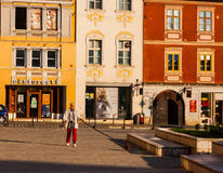 BRASOV, TRANSYLVANIA - AUGUST 22, 2010. Panoramic view of the old town center Stock Photos