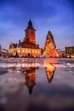 Brasov Transylvania Christmas Market and decorations.  Piata Sfa Stock Image