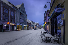 Brasov, Transylvania, Romania - December 28, 2014: A view of one of the main streets in downtown Brasov. Old houses on one of the main streets of the city of Stock Images