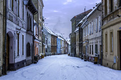 Brasov, Transylvania, Romania - December 28, 2014: A view of one of the main streets in downtown Brasov. This is a street with old building in the city of Royalty Free Stock Photography