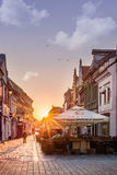 Brasov, Transylvania, Romania - July 28, 2015: A view of one of the main streets in downtown Brasov. Brasov, Transylvania, Romania - December 28, 2015: A view of Royalty Free Stock Photo