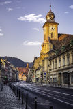 Brasov, Transylvania, Romania - July 28, 2015: A view of one of the main streets in downtown Brasov with important buildings. Brasov, Transylvania, Romania Stock Image